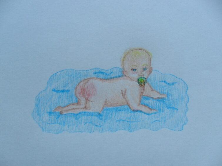 Røde babynumser. Baby med rød numse, tegnet af Melissa Gonsalves Kjærulff